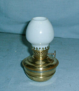 SMALL BRASS - KELLY / NURSERY / PIXIE OIL LAMP - WITH MILK GLASS SHADE
