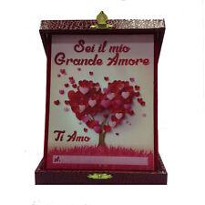 """AMORE targa """"Sei il mio grande amore..!Ti Amo"""" scatola eco-pelle rossa 14x18cm"""