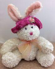"Plush White Bunny Rabbit Dan Dee Collector's Choice 12"" Pink Fuschia Hat EASTER"