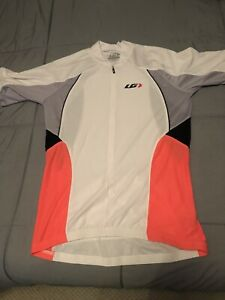 Louis Garneau White/orange Cycling Short-Sleeve Shirt Jersey Polyester Womens LG