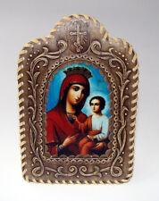 Icône religieuse Vierge à l'Enfant, Icône Orthodoxe russe cadre Bois écorce