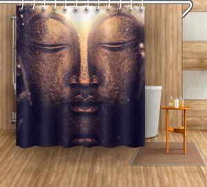 Buddha Head Retro Shower Curtain Liner Bathroom Waterproof Fabric Set Hooks