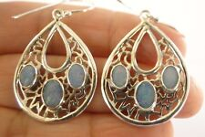 Blue Australian Opal 3-Stone Intricate 925 Sterling Silver Dangle Earrings