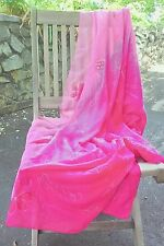 "LARGE 42"" X 61"" MULTI COLORS PINK W/EMBROIDERED FLOWERS sarong wrap scarf"