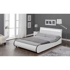 CORIUM® LED Design Polsterbett 180x200cm Weiß Doppel Bett Rahmen Kunst-Leder