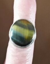 Tigers Eye 925 Sterling Silver Ring Gemstone Size 6.5mm REDUCED!