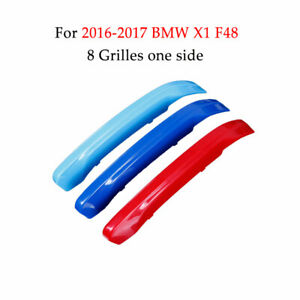 Front Grille Insert Trim Strips grill Cover for 2016-2017 BMW X1 F48 8 Grilles