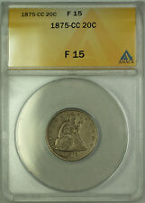 1875-CC Silver Seated Liberty Twenty Cents 20c Coin ANACS F 15