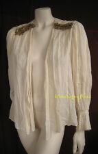 Romantic Breezy OSCAR DE LA RENTA Ivory Cotton PEASANT BLOUSE