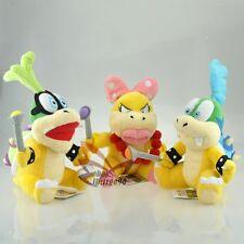 "Lot 3 Super Mario Bros 8"" Iggy Wendy Larry Soft Cute Plush Toy Doll-MW2611"