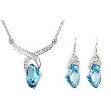 Bleu Océan Set bijoux cristal ANGE Hands Boucles d'oreilles goutte collier S258