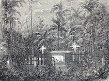 Antique print protestant cemetery Bangkok Thailand 1863