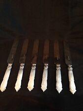 Antique 6 Silver Knives Mother of Pearl HARRISON BRO & HOWSON, Sheffield England