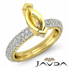 Diamond Engagement Half Eternity Ring Marquise Semi Mount 18k Yellow Gold 1.45Ct