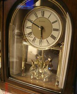 Bulova Durant Analog Quartz Solid Wood Case Pendulum Mantel Clock B1845