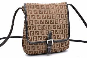 Authentic FENDI Zucchino Shoulder Bag Canvas Leather Brown 97972