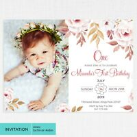 First Birthday Calligraphy Floral Invitation Girls Photo Invite DIGITAL FILE NEW
