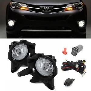 For 2013-2015 Toyota RAV4 OE Clear Fog Lights Bumper Driving Lamps+Switch+Bulbs
