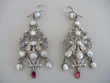 "Antique Austro Hungarian 2 3/4"" Dangle Wire Earrings Sterling Pearls Garnets"