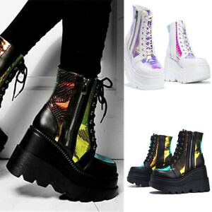 Womens Goth Punk Chunky Shoes Wedge High Heel Zip Platform Casual Ankle Boots