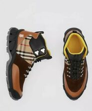 Burberry Leather Vintage Check Suede Tor  Hike Boot $890 NIB