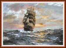"'TWILIGHT SEA' Cross Stitch Chart (17¾""x12½"") Ocean/Ship/Sunrise/Sunset NEW"