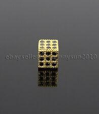 Black Zircon Gemstones Pave Square Cube 6x6mm Bracelet Connector Charm Beads