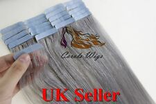 """18"""" 60g 8A Russian Slavic Remy Double Drawn Tape-In Human Hair Extensions UK"""