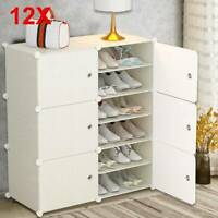 12 Multi-function Modern Shoe Cabinet  DIY Shoe Bookcase Storage Cabinet UK