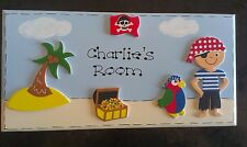 Personalised Handmade Boys Childrens Pirate Name Door Room Plaque Sign