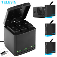 TELESIN Battery Charger Case For GoPro Hero 8 7 6 5 Black Charging& Storage Box