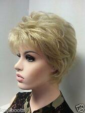 Short Platinum Blonde Synthetic Wig Classic Cut w Volume