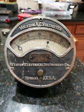 Antique 1890's Weston  Electrical Instrument Co. Newark NJ A.C. Voltmeter