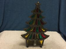 Candle Holder Cast Iron Tea Light Stained Glass Christmas Tree  Onesco Votive