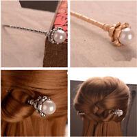 Women Handmade Alloy Pearl Hair Chopsticks Hair Stick Hairpin Chignon Pin Gift