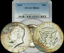 1965 Kennedy Half Dollar PCGS MS64 Golden/Turquoise/Green/Brown Toned Coin