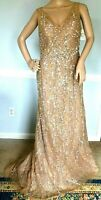 New $2,760 Rene Ruiz Crystal Sequin Embellished Lace Long Evening Gown Dress 12