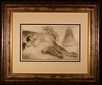 Something Or Other Original 1893 Impressionist Etching by Louis Legrand Framed