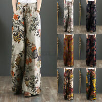 UK Womens Casual Loose Long Trousers Retro Floral Printed Wide Leg Palazzo Pants