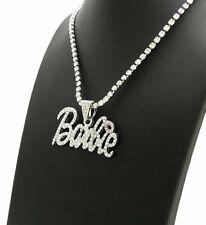 "Women's Hip Hop Iced BARBIE Pendant & 4mm 18"" Rhinestone Chain Fashion Necklace"