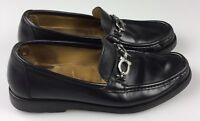 Salvatore Ferragamo Black Italian Leather Moc Loafer Shoe Horsebit Mens 10 D