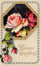 Pink Red Yellow Roses Spill from Black Back Gold Octogon~Olive Green~Emboss~1908