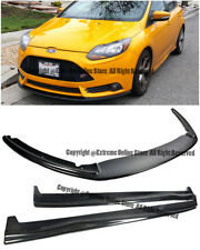 For 13-14 Ford Focus ST CARBON FIBER Add On Front Bumper Splitter W/ Side Skirts