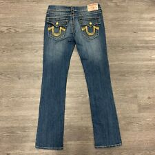 True Religion Joey Super T Bootcut Jeans Women's Size 29 Gold Trim Flap Pockets