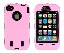 for iPhone 4 4G 4S  Pink & Black Impact Armor Hard & Soft Rubber Case Cover
