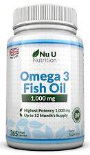 Omega 3 Olio di Pesce da 1000 mg - 365 Capsule Softgel, Fornitura per 1 anno