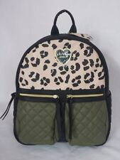 Betsey Johnson 2-Pocket BACKPACK MEDIUM in CHEETAH with Olive Green Trim Quilted