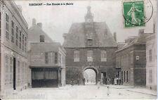 Carte postale, RIBEMONT, Rue Blondel et la mairie, écrite au revers en 1913.