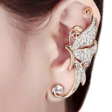Diamante Rhinestone Crystal 1 Pc Butterfly Clip On Ear Cuff Gold Wrap Clip Party