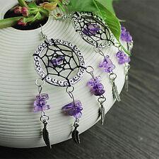 DIY Amethyst Beads Crystal Handmade Silver Dreamcatcher Earrings Tassel